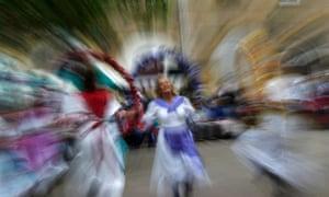 Members of Magog Morris, from Horsham in West Sussex, dance.