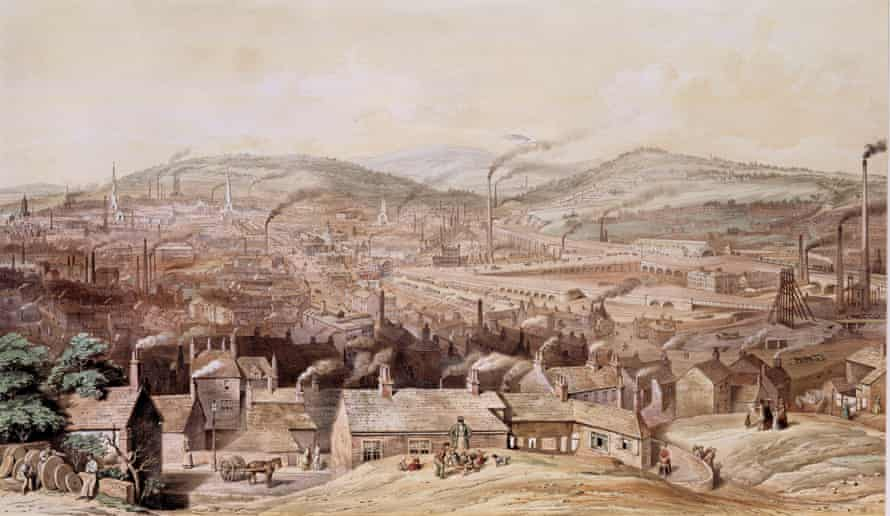 A lithograph showing Sheffield from the south-east in 1855.