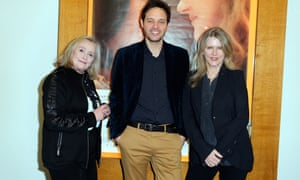 Sukowa, right, with Chevallier and director Filippo Meneghetti at the premiere of Two of Us in Paris.