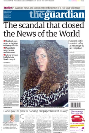 Guardian front page: 'The scandal that closed the News of the World'