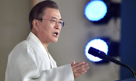 South Korean president Moon Jae-in delivers a speech during a ceremony to mark the 74th anniversary of Korea's liberation from Japan's 1910-45 rule.