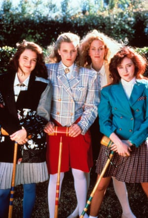 Anyone for croquet? At the start of Heathers, Winona was holding her own with the three Heathers (played by Kim Walker, Lisanne Falk and Shannen Doherty) – preppy power dressers very much living in an over-styled, big hair, big shoulders, big attitude 80s moment.