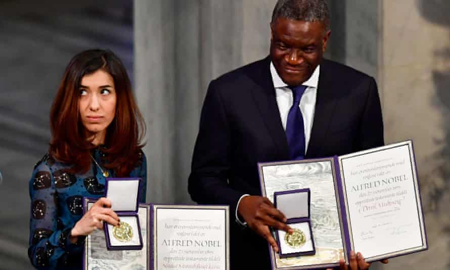 Nadia Murad and Dr Denis Mukwege with their prizes in Oslo