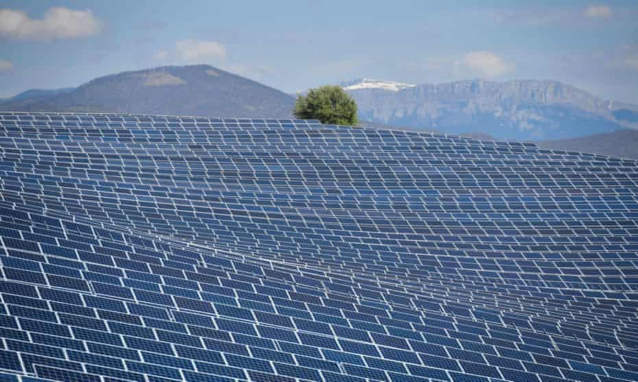 Solar panels in La Colle des Mees, Alpes de Haute Provence, south-eastern France.