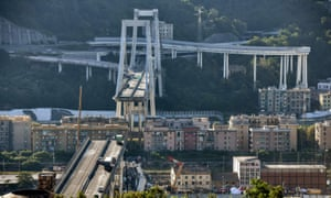 Abandoned vehicles on Morandi Bridge in Genoa after a section collapsed in August last year.