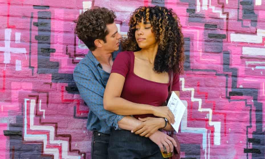 Andrew Garfield and Alexandra Shipp on the set of Tick, Tick… Boom!