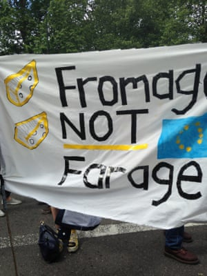 A banner calling for 'Fromage not Farage'