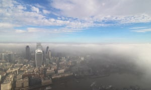 Fog seen from The Shard in London.