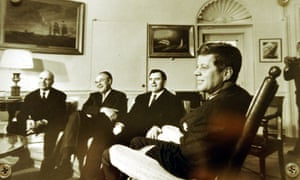 President Kennedy, right, meets the Soviet foreign minister, Andrei Gromyko, second from right, and other Soviet officials in the Oval Office on 18 October 1962 during the Cuban missile crisis.