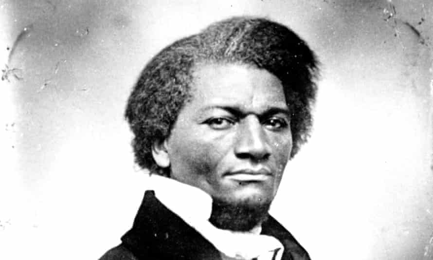 Contemporary black and white photograph of Frederick Douglass, a head and soulders shot in formal attire