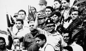 Manuel Noriega in Panama City, October 1989, after an attempted coup failed to oust him from power.