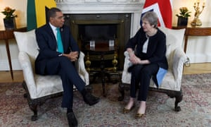 Theresa May with the Jamaican prime minister, Andrew Holness, at Downing Street on Tuesday
