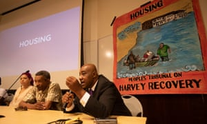 Activists speaking during the Houston Panel during the People's Tribunal on Harvey Recovery on 25 August 2018.