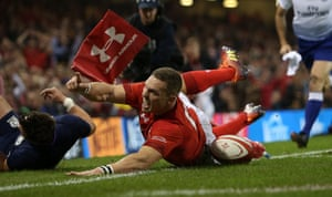 George North touches down but his foot was in touch.