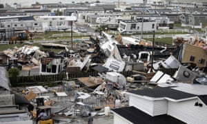 Mobile homes are upended and debris is strewn about at the Holiday Trav-l Park in Emerald Isle, North Carolina, after a possible tornado generated by Hurricane Dorian struck the area