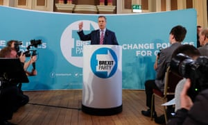 Nigel Farage speaking at a Brexit party news conference at the Best Western Grand Hotel in Hartlepool.
