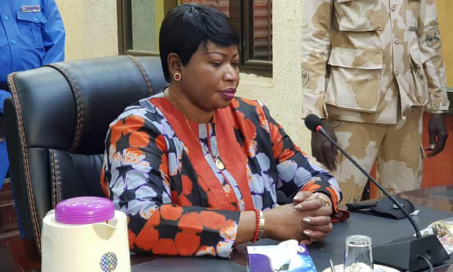 The international criminal court's chief prosecutor, Fatou Bensouda, speaks to reporters in Nyala, Sudan, on Monday.
