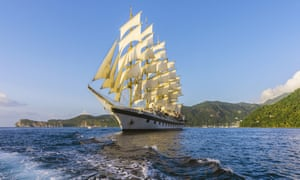 Sailing ship, off the island of Saint Lucia, Lesser Antilles.