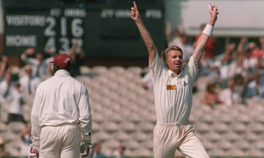 Dominic Cork celebrates after taking the wicket of  West Indies' Junior Murray, the second of Cork's hat-trick on 30 July 1995.