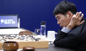 South Korean professional Go player Lee Sedol reviews the match after finishing the fourth match of the Google DeepMind Challenge Match against Google's artificial intelligence program, AlphaGo, in Seoul, South Korea.