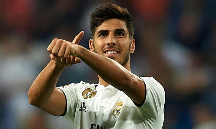 Marco Asensio celebrates after scoring for Real Madrid against Espanyol in September 2018