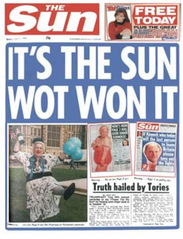 Rupert Murdoch told the Leveson inquiry that this Sun front page was 'tasteless and wrong'.