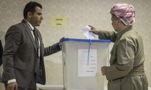 Masoud Barzani, president of the Kurdistan region, casts his vote during last week's referendum