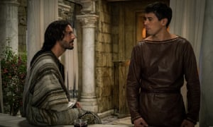 Lovers no more ... Jack Huston as Judah Ben-Hur, left, and Toby Kebbell as Messala Severus in the remake of Ben-Hur.
