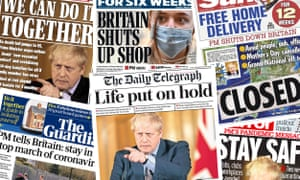 Front pages of the UK papers on Tuesday 17 March as Boris Johnson shuts down the nation to avoid the spread of coronavirus