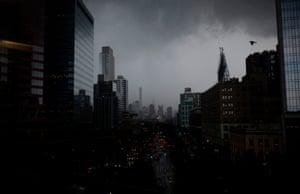Dark clouds during a thunder storm over Manhattan.