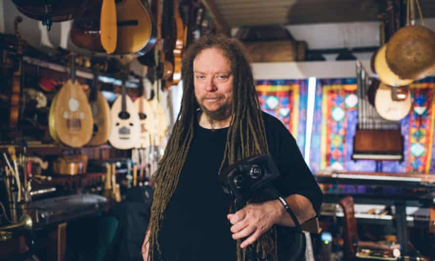 Jaron Lanier at home in Berkeley, California musical instruments.