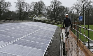 A community-owned solar panel project installed on a cowshed near Balcombe in West Sussex.