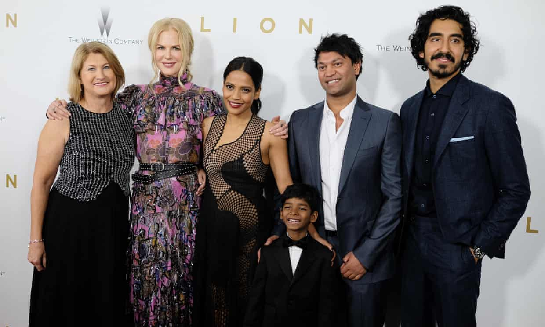 Left to right: Sue Brierley, Nicole Kidman, Priyanka Bose, Sunny Pawar, Saroo Brierley and Dev Patel attend the Lion New York premiere
