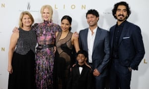 Left to right: Sue Brierley, Nicole Kidman, Priyanka Bose, Sunny Pawar, Saroo Brierley and Dev Patel attend the Lion New York premiere