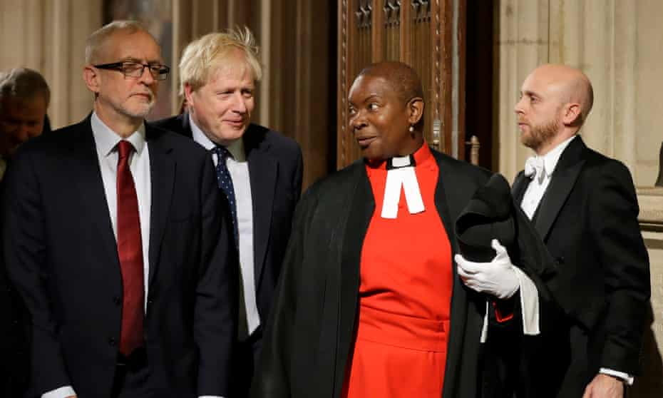 Hudson-Wilkin with Jeremy Corbyn and Boris Johnson at the state opening of parliament in October