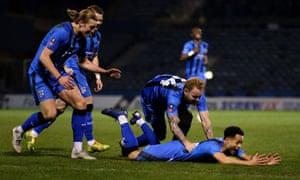 Elliott List celebrates after scoring for Gillingham against Cardiff.