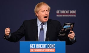 Boris Johnson speaking during the launch of the Conservative manifesto, behind a podium reading 'Get Brexit done: unleash Britain's potential'.