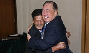 South Korean Ham Sung-Chan, 93 (R) meets his North Korean brother Ham Dong-Chan, 79