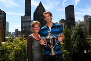 2012: Andy Murray poses with the US Open Championship trophy next to his mother Judy Murray during his New York City trophy tour after his victory in the 2012 US Open Championship final in Central Park