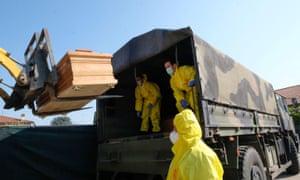 Coffins are taken away in military vehicles, Ponte San Pietro, near Bergamo, 3 April 2020.