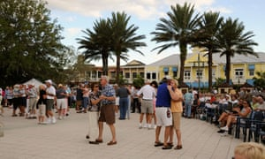 Residents dance at Sumter Landing retirement development within The Villages.