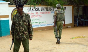 Armed security officers guard the entrance of Garissa University college in Kenya