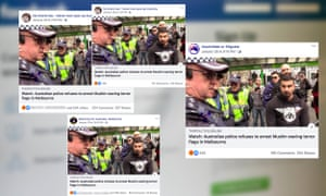 "Coordinated Facebook posts claiming Australian police had ""refused to arrest Muslims who waved terror flags against Jews in Melbourne"""