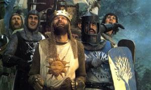 Eric Idle, John Cleese, Graham Chapman, Terry Jones and Michael Palin in their 1975 film Monty Python and the Holy Grail.