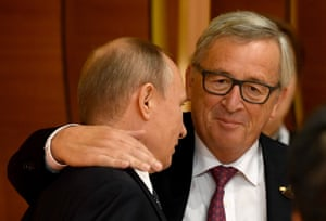 The president of the European commission, Jean-Claude Juncker, and Putin