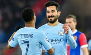 Ilkay Gündogan (right) scored twice for Manchester City in their 4-0 win against Basel.