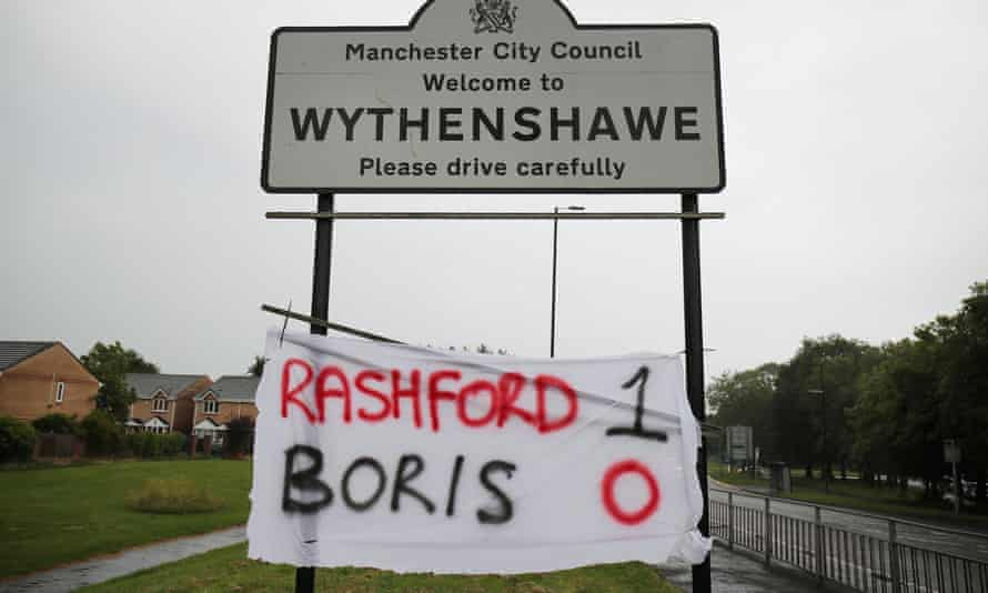A banner in Wythenshawe on 16 June referring to Boris Johnson's U-turn over free school meals following Marcus Rashford's letter to MPs.