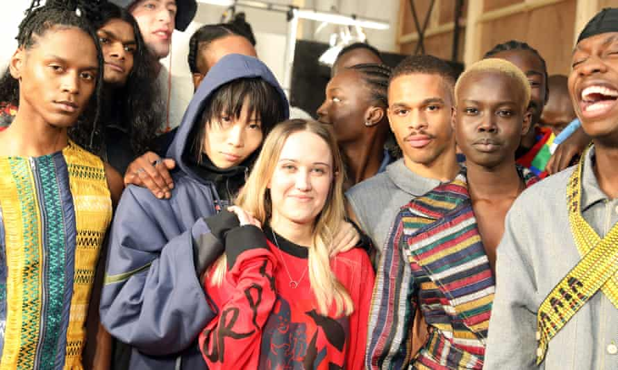 Backstage at the Bethany Williams London fashion week men's show in January