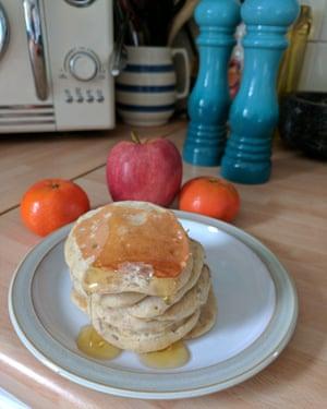 Saturday breakfast: banana pancakes and fruit.