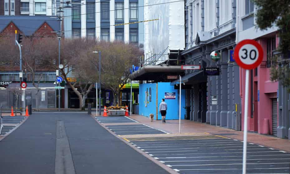 The deserted centre of Wellington as New Zealand remains in lockdown
